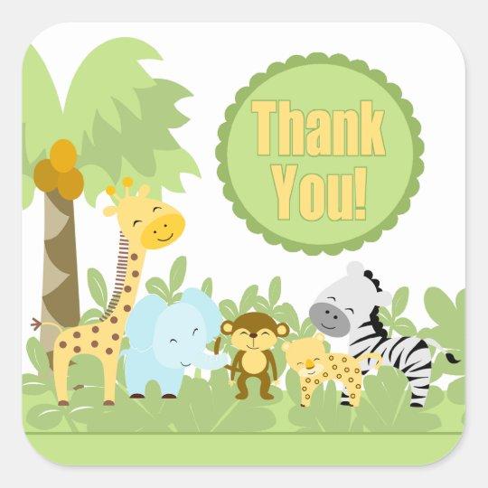 Thank You Baby Shower Jungle Square Sticker! Square Sticker