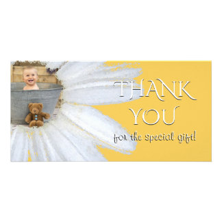Thank You Baby Shower Photo | Daisy Flower Gold Card