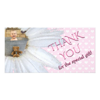 Thank You Baby Shower Photo Daisy Pink Hearts Girl Card