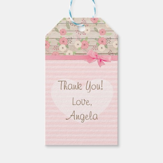 Thank You Baby Shower Pink Flowers Gift Tag