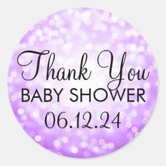 Thank You Baby Shower Purple Glitter Lights Round Sticker