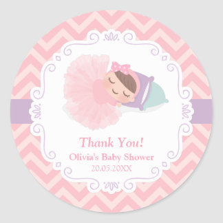 Thank You Ballerina Tutu Baby Girl Shower Stickers