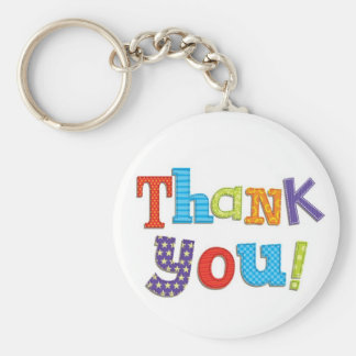 Thank You Basic Round Button Key Ring
