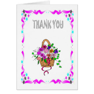 Thank you - Basket of flowers Card