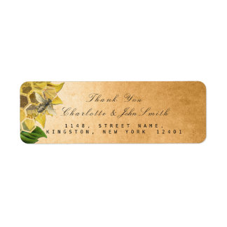 Thank You Bee Sunflower Gold Return Address Return Address Label