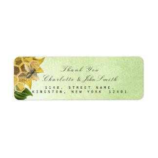 Thank You Bee Sunflower Mint Return Address