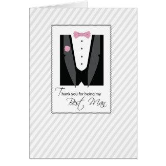 Thank You Best Man, Tux, Rose Pink, Black Greeting Card
