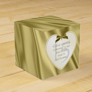 """Thank You"" Birthday Gold Faux Satin Look Favour Boxes"