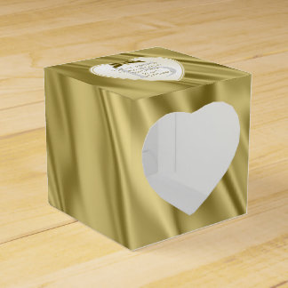 """Thank You"" Birthday Gold Faux Satin Look Party Favour Box"