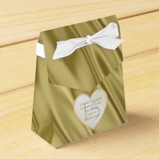 """Thank You"" Birthday Gold Faux Satin Look Party Favour Boxes"