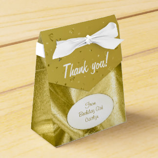 """Thank You"" Birthday Gold Textured Fabric Look Favour Box"