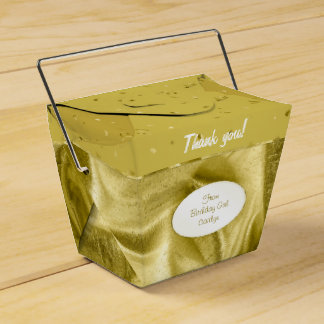 """Thank You"" Birthday Gold Textured Fabric Look Party Favour Box"