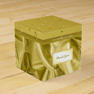 """Thank You"" Birthday Gold Textured Fabric Look Party Favour Boxes"