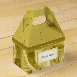 """""""Thank You"""" Birthday Gold Textured Fabric Look Wedding Favour Box"""