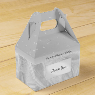 """""""Thank You"""" Birthday Gray Textured Fabric Look Party Favour Box"""
