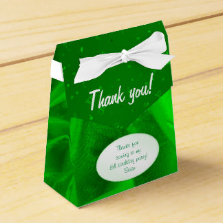 """Thank You"" Birthday Green Textured Fabric Look Favour Box"