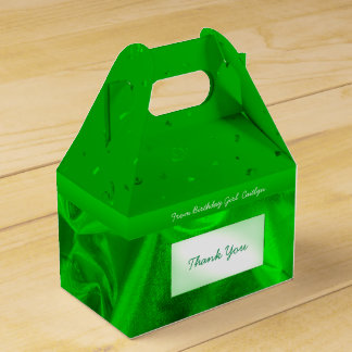 """""""Thank You"""" Birthday Green Textured Fabric Look Favour Box"""