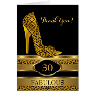 Thank You Birthday Party Celebration Leopard 2 Card