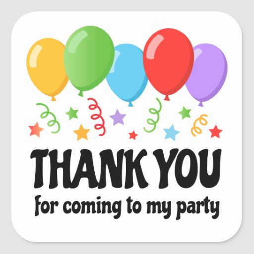 Thank You Birthday Party Sticker With Balloons Zazzle