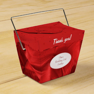 """Thank You"" Birthday Red Textured Fabric Look Favour Boxes"
