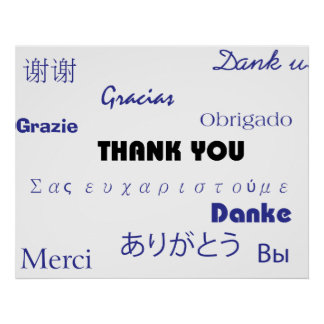 Thank You (black and blue001) Print