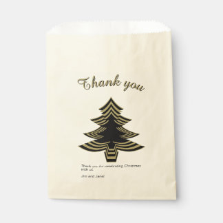 Thank you Black and Gold Christmas Tree  Geometric Favour Bags