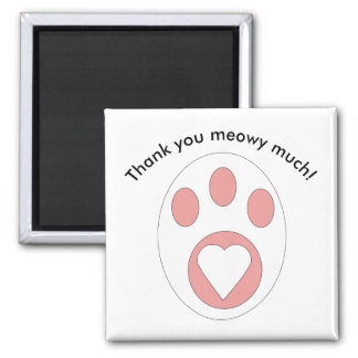 Thank You Black and White Cat Paw Heart Custom Square Magnet