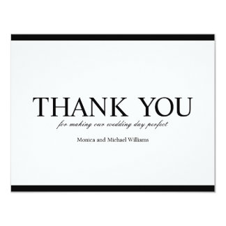 Thank You Black and White Elegant Wedding Card