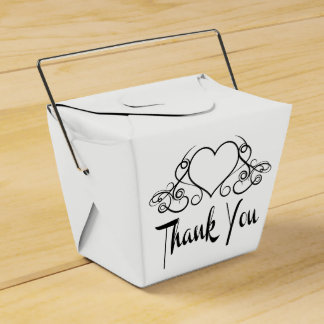 Thank You  Black And White  Hearts - Wedding Party Favour Box