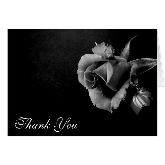 Thank You Black and White Rose Card