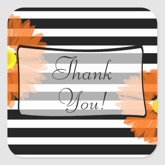 Thank You Black and White Striped Floral Stickers