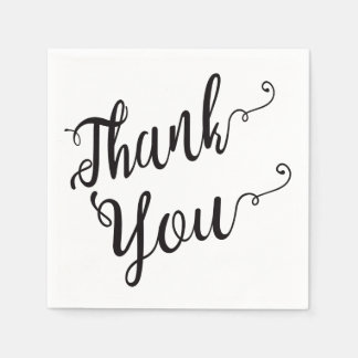 Thank You Black And White Wedding, Party, Bridal Paper Napkins