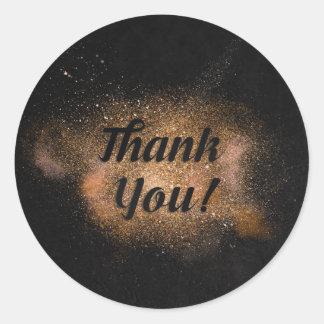 Thank You - Black Background Classic Round Sticker