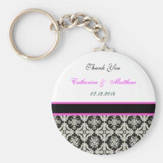 thank you black damask basic round button key ring