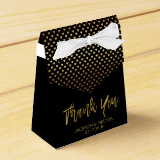Thank You Black & Gold Foil with Hearts Favour Box