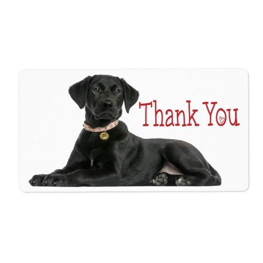 Thank You Black Labrador Retriever  Dog Sticker Shipping Label