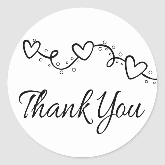 24x BLACK AND WHITE CIRCLE THANK YOU STICKERS weddings party /& bridal shower