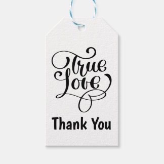 Thank You Black & White  Love Wedding Party Gift Tags