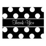 Thank You Black & White Polka Dot Postcard