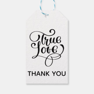 Thank You  Black & White True Love  Wedding Party Gift Tags