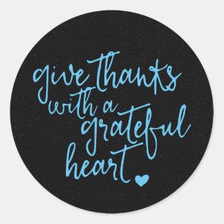 Thank You Blue And Black Motivational Attitude Round Sticker