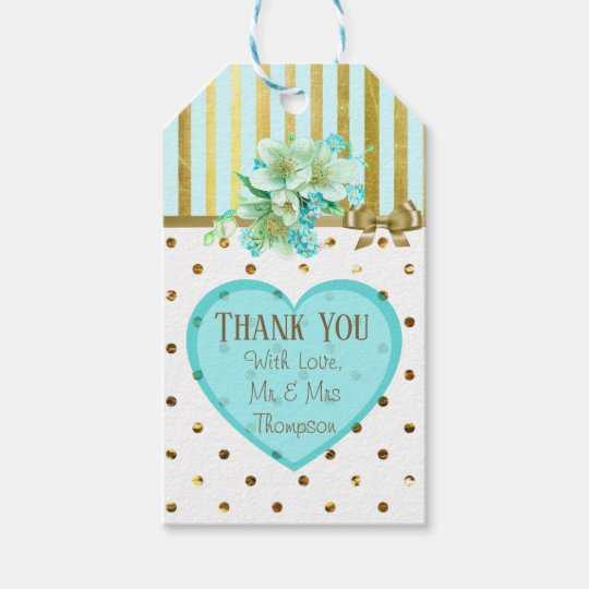 Thank You Blue and Gold Wedding Gift Tag