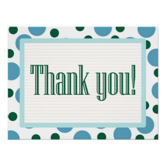 Thank You Blue and Teal Dots Poster