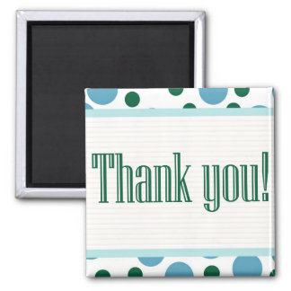Thank You Blue and Teal Dots Refrigerator Magnet