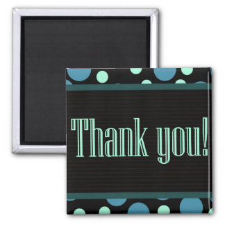 Thank You Blue Dots Black Background Magnets