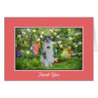 Thank You, Blue Eyed Cat Among The Flowers Card