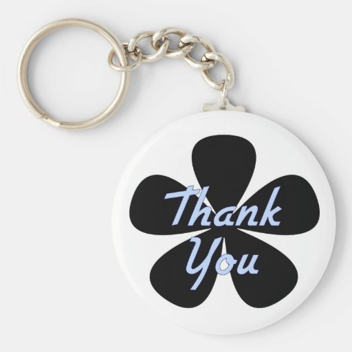Thank You Blue Flower Key Chain