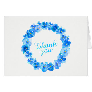 Thank you blue pansy wreath art card