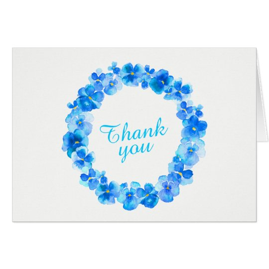 Thank you blue pansy wreath art card