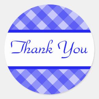 Thank You Blue Plaid Sticker